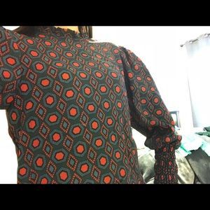 Zara blue and red patterned blouse